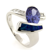 Australian Opal Gorgeous Ring with Oval Cut Tanzanite