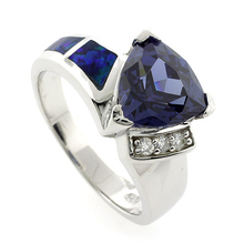 Australian Opal and Tanzanite Ring