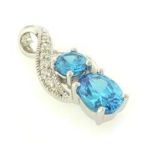 High Quality Blue Topaz Silver Pendant