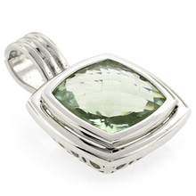Cushion Cut Sterling Silver Green Amethyst Pendant