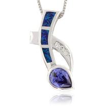 Australian Opal Pendant with Tanzanite
