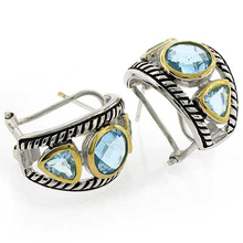 Beautiful Designer Inspired Blue Topaz Sterling Silver Earrings