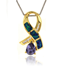 Opal Tanzanite Silver Necklace