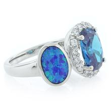 Oval Cut Blue Topaz with Australian Opal Ring