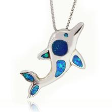 Blue Opal Silver Dolphin Pendant