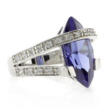 Marquise Cut Tanzanite Silver Big Heavy Ring