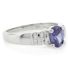 Solitaire Oval Cut Sterling Silver Tanzanite Ring