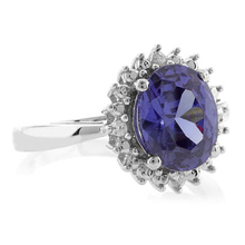 Oval Princess Kate Style Tanzanite Silver Ring
