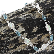 Alexandrite and White Opal Sterling Silver Bracelet