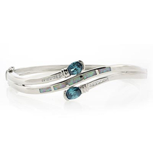 Alexandrite and White Opal Sterling Silver Bangle