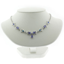 Blue Opal and Tanzanite Silver Necklace
