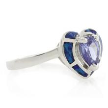 Opal and Tanzanite Heart Ring