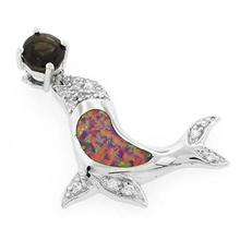 Pink Australian Genuine Topaz Opal Dolphin Pendant
