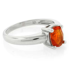 Genuine Fire Oval Cut Opal Silver Solitaire Ring