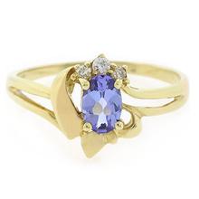 14k Solid Yellow Gold Tanzanite Diamond Ring