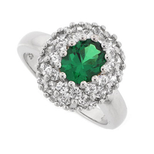 Emerald Ring with Sterling Silver