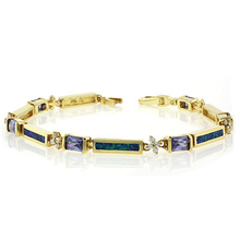 Opal Bracelet in Sterling Silver with Tanzanite