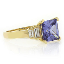 Tanzanite Sterling Silver Ring in Gold Plated