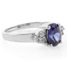 Oval Cut Tanzanite Sterling Silver Ring