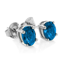 Sterling Silver Blue Topaz Oval Cut Earrings