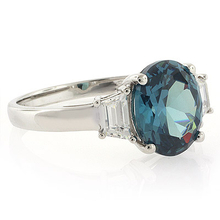 Alexandrite Ring Blue to Green Change Oval Cut Stone