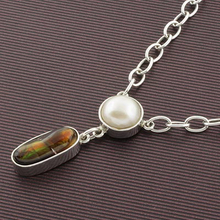 Genuine High Quality Fire Agate and Pearl Silver Necklace