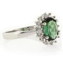 Genuine Green Tourmaline Ring in Sterling Silver