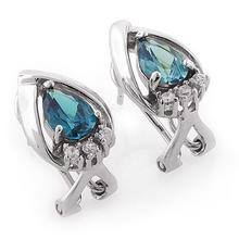 Pear Cut Alexandrite Silver Omega Closure Earrings