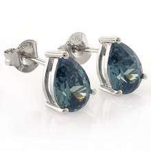 Alexandrite Pear Cut Stud Silver Earrings