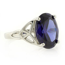Celtic Style Sapphire Silver Ring