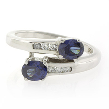 Silver Double Stone Sapphire Ring