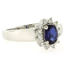 Silver Oval Cut Sapphire Ring