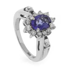 Elegant Oval Cut Tanzanite Silver Ring