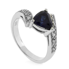 Beautiful Trillion Cut Sapphire Sterling Silver Ring