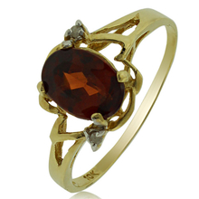 10K Yellow Gold Natural Red Garnet Ring