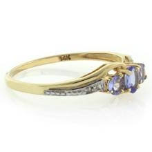 Genuine 0.37 tcw Tanzanite 14 Karat Gold Ring with Diamonds
