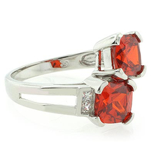 2 Stone Mexican Fire Cherry Opal Silver Ring