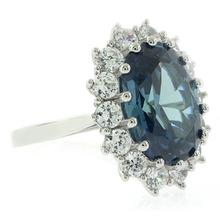Alexandrite Princess Kate Style Silver Ring