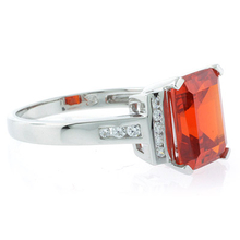 Fire Cherry Opal Emerald Cut Stone Ring