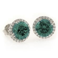 Color Changing Alexandrite Round Cut Stone Micro Pave Earrings