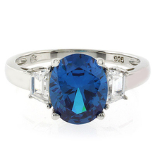 Blue Topaz Sterling Silver Oval Cut Gemstone Ring