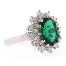 Oval Cut Emerald Sterling Silver Ring