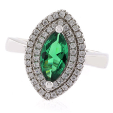 Marquise Cut Emerald Silver 925 Ring
