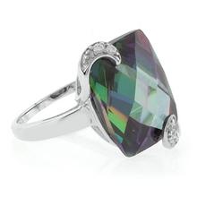 Mystic Topaz Ring Checkboard Cut Stone