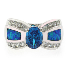 Opal with Blue Topaz Silver Ring