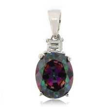 Mystic Topaz Oval Cut Stone Sterling Silver Pendant