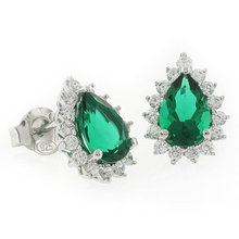 Emerald Pear Cut Framed Silver Earrings