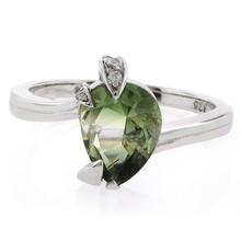 Pear Cut Tourmaline Gemstone Silver Engagement Ring