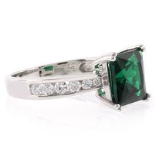 Emerald Silver Ring Square Cut Stone