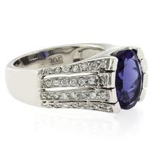 Huge Oval Cut Tanzanite Unisex Silver Ring